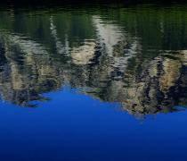 Mountain panorama reflected in the Haidersee