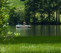 Angler in a boat on Lake Haidersee