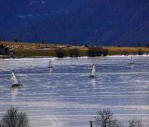 Ice sailing in the Vinschgau, South Tyrol