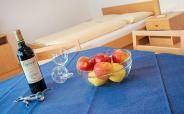 Dining table with fruit bowl