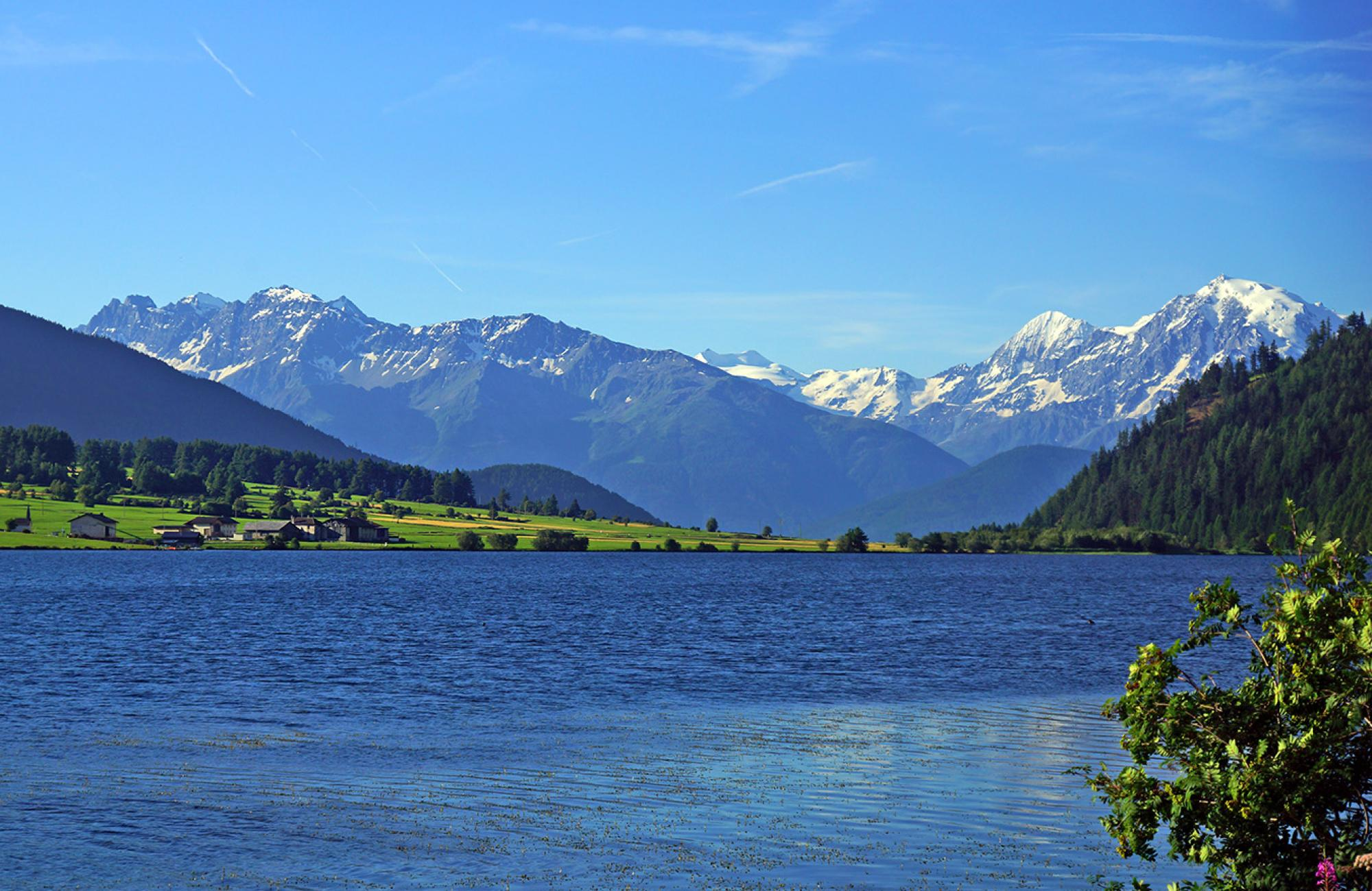 Lake Haidersee with view of the Ortler
